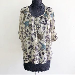 WILLOW & CLAY FLORAL TOP L